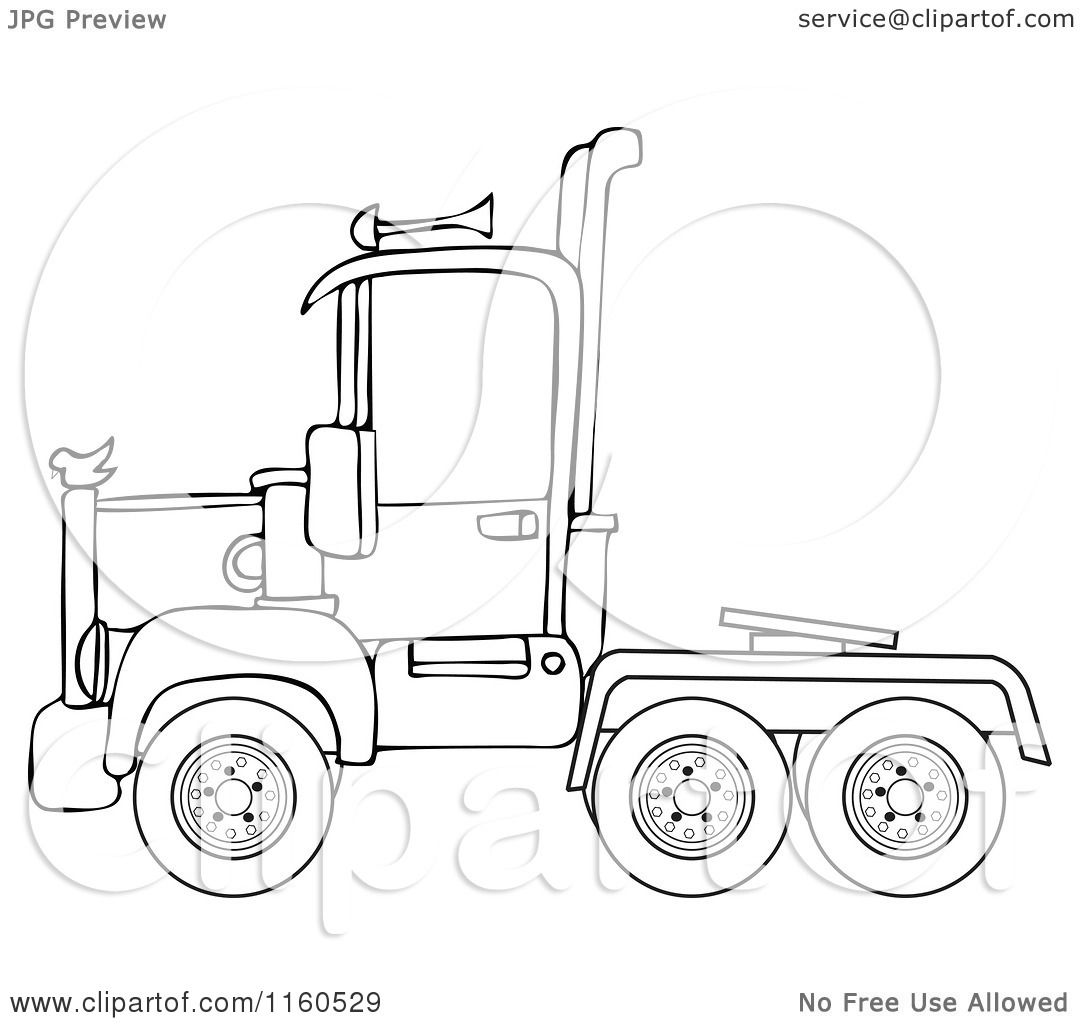 Cartoon Of An Outlined Big Rig Semi Truck Cab Royalty Free Vector Clipart By Djart