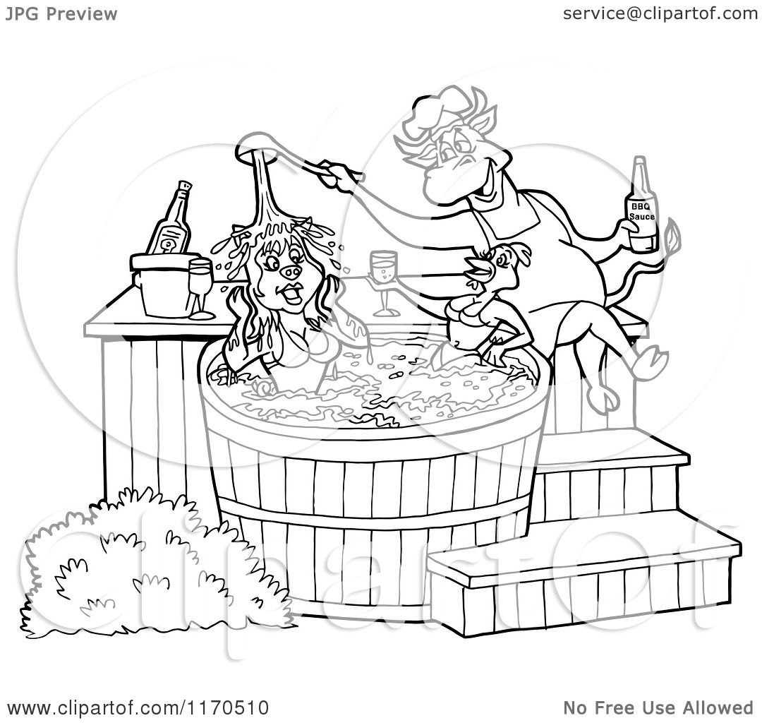 cartoon of an outlined chef bull pouring bbq sauce on a