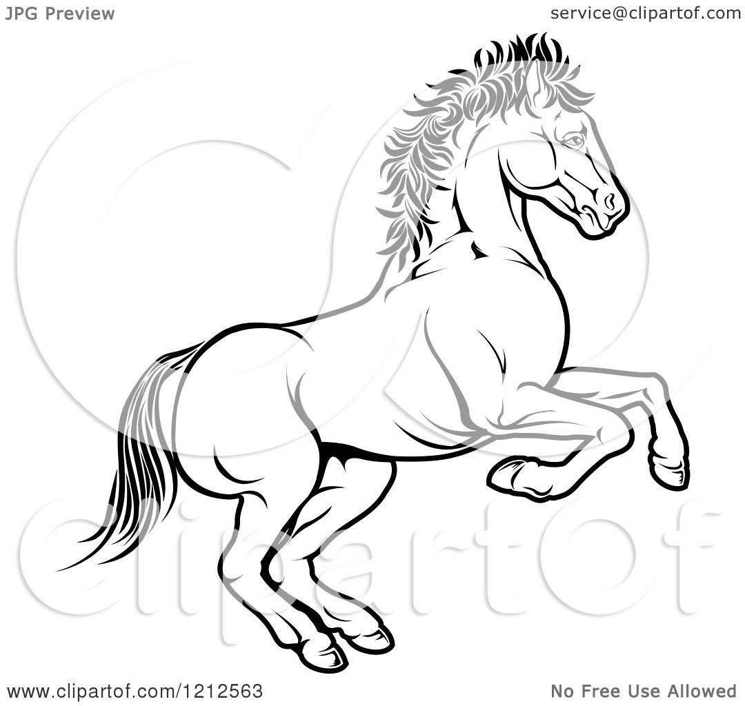 Cartoon of an Outlined Chinese Zodiac Rearing Horse ...