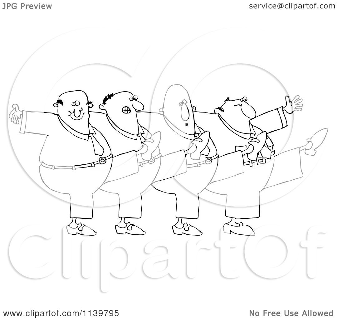 Cartoon Of An Outlined Chorus Line Of Men Dancing The Can