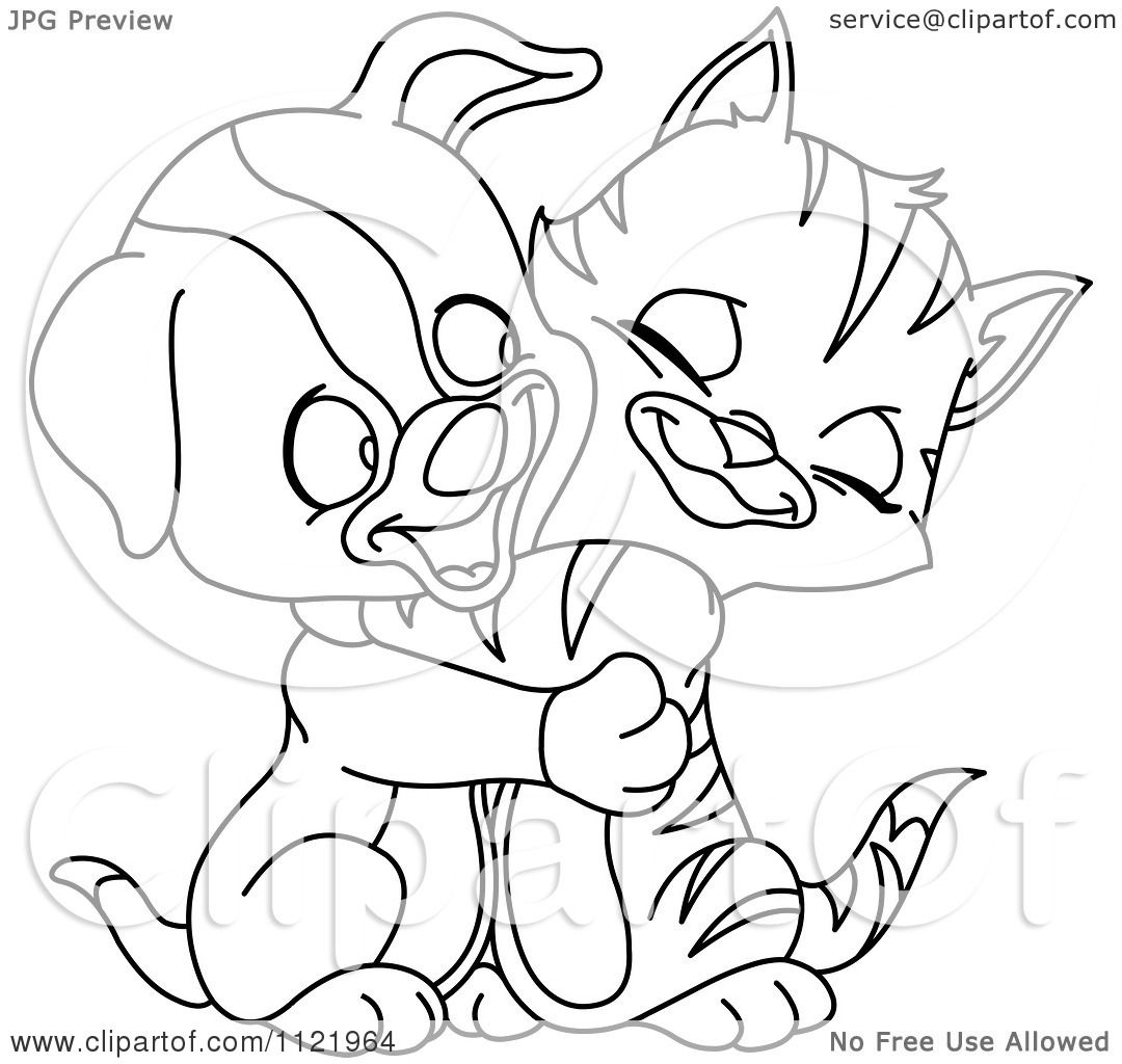 Cartoon Of An Outlined Cute Puppy And Kitten Hugging ...