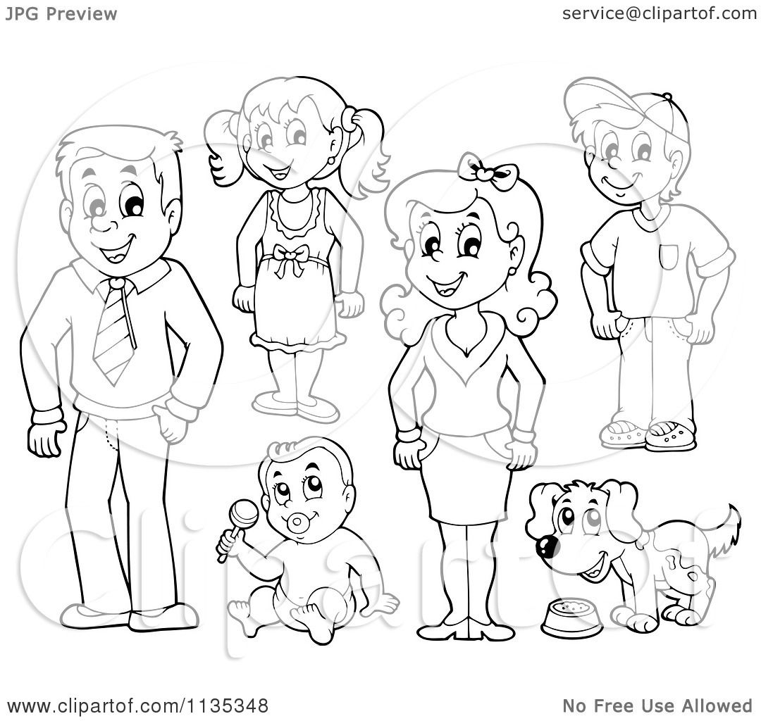 Royalty free cartoon clipart illustration of an outlined family people ...