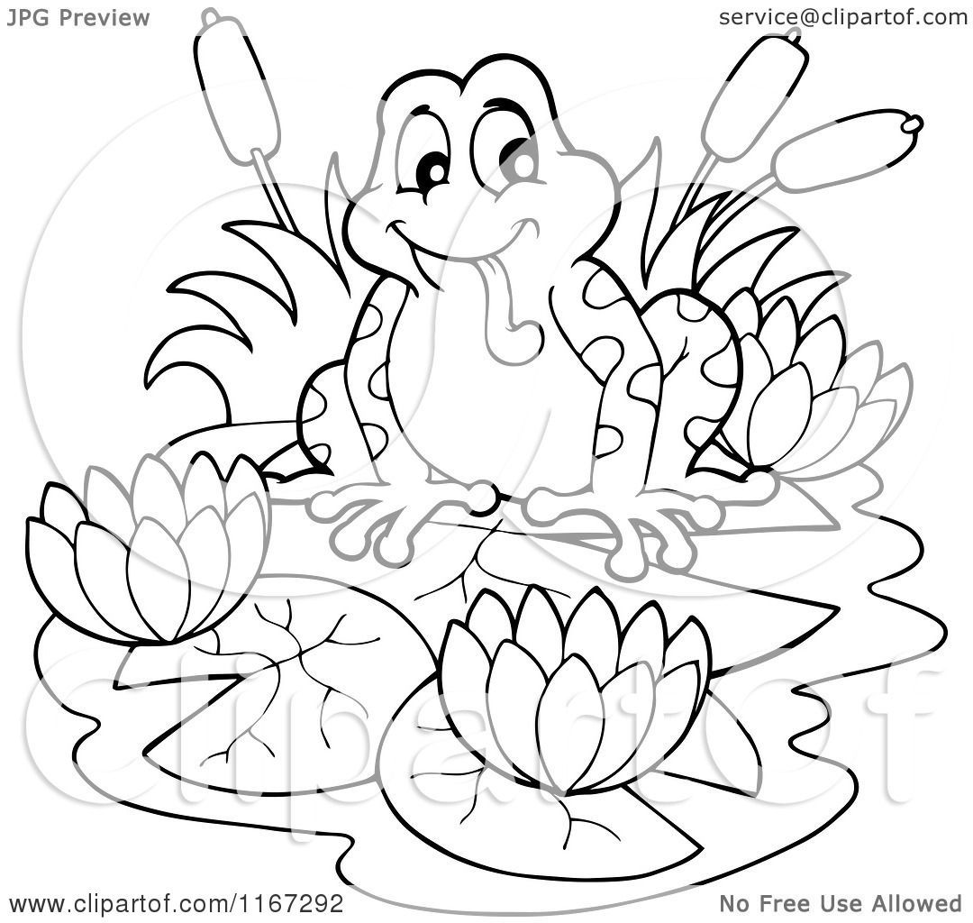 Cartoon Of An Outlined Frog With Lotus Flowers And
