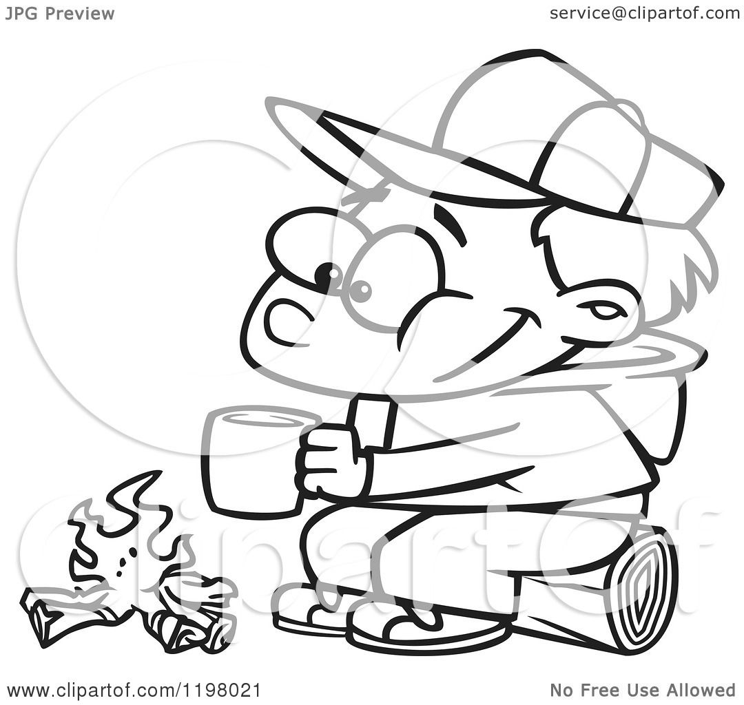 fireside girls coloring pages | Cartoon of an Outlined Happy Boy with Hot Cocoa by a Camp ...