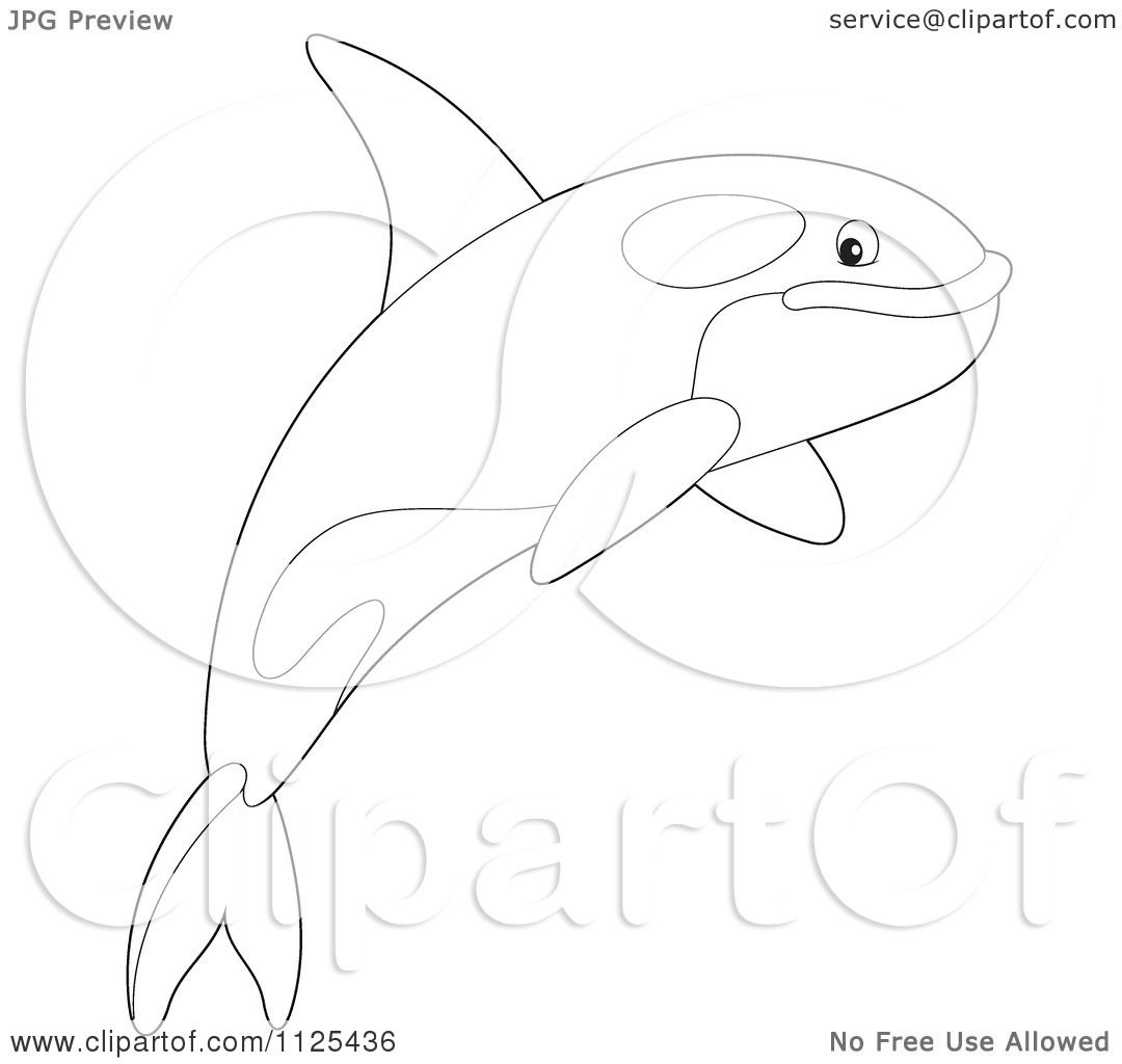 Free coloring pages killer whale - Cartoon Of An Outlined Happy Jumping Orca Killer Whale Royalty Free Clipart By Alex Bannykh