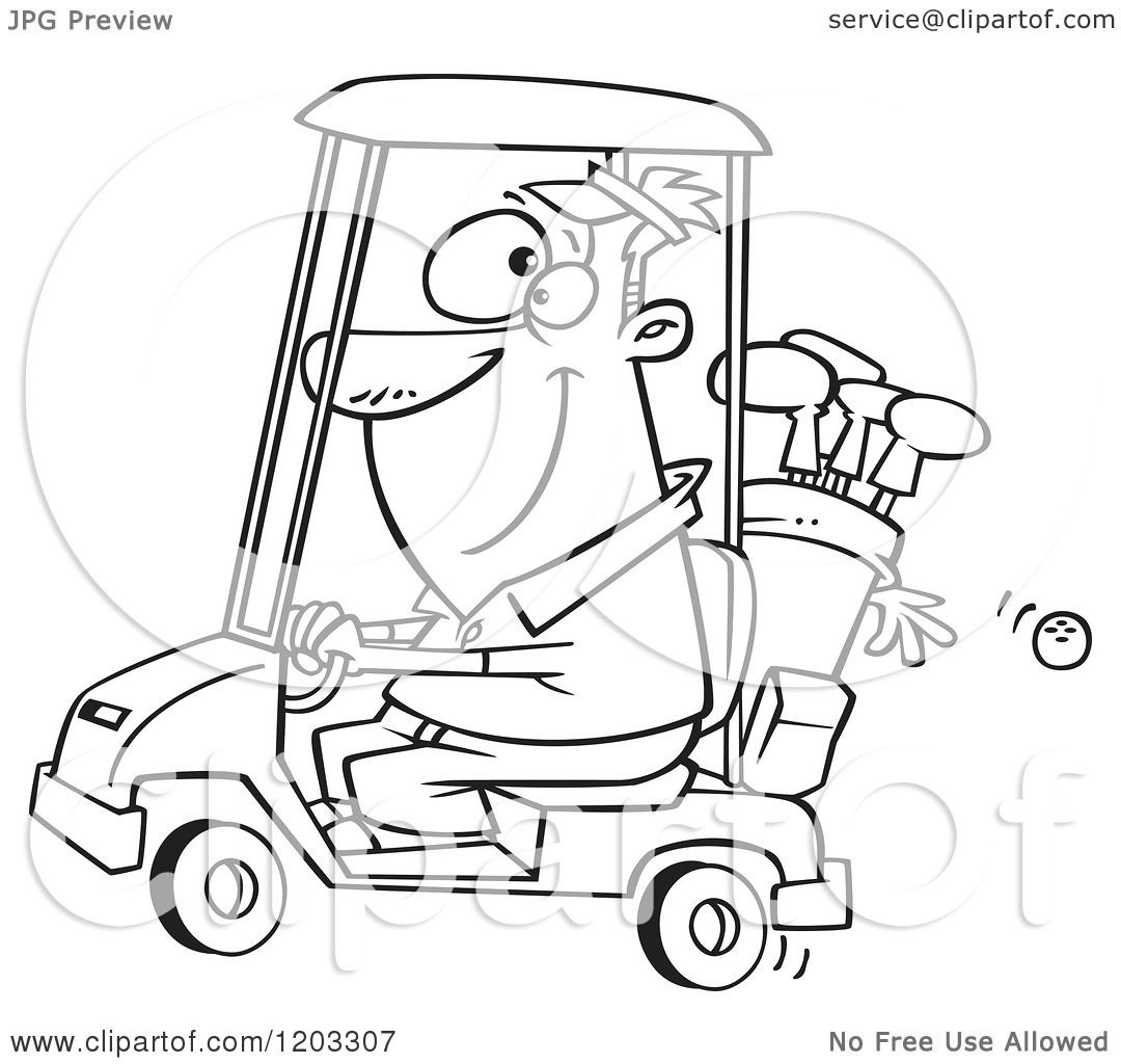 Cartoon of an Outlined Happy Man Driving a Golf Cart - Royalty Free on car clip art, motorcycles clip art, golfer clip art, kayak clip art, funny golf clip art, forklift clip art, vehicle clip art, atv clip art, high quality golf clip art, baby clip art, golf borders clip art, motorhome clip art, golf tee clip art, golf clipart, computer clip art, grill clip art, hole in one clip art, golf outing clip art, golf flag clip art, golf club clip art,