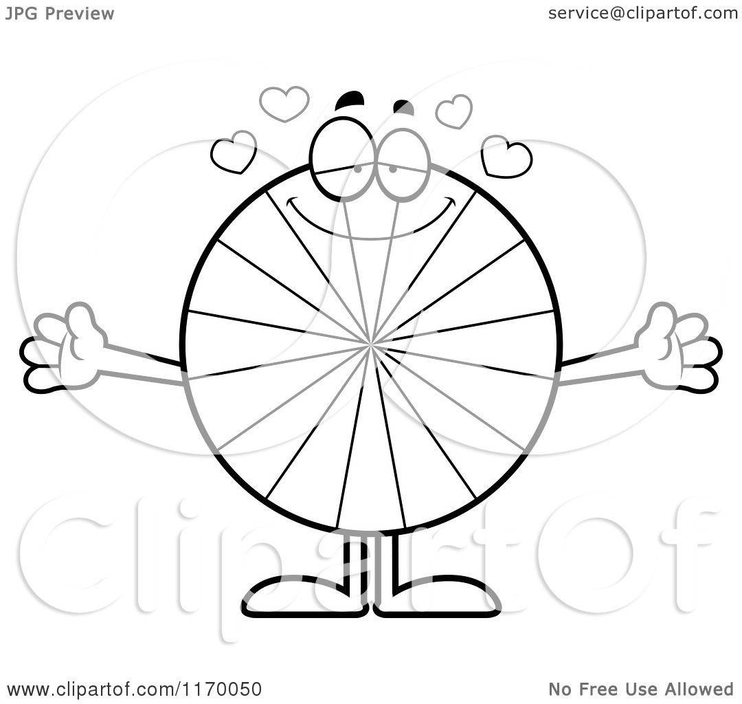 peppermint coloring pages - cartoon of an outlined loving peppermint candy mascot with