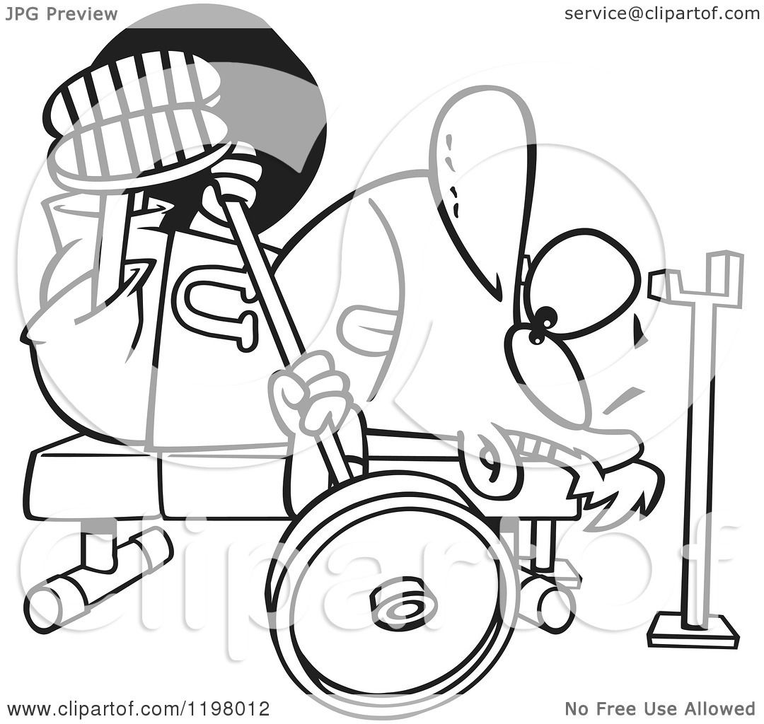 Cartoon of an Outlined Man Doing the Chest Press on a Gym Bench ...