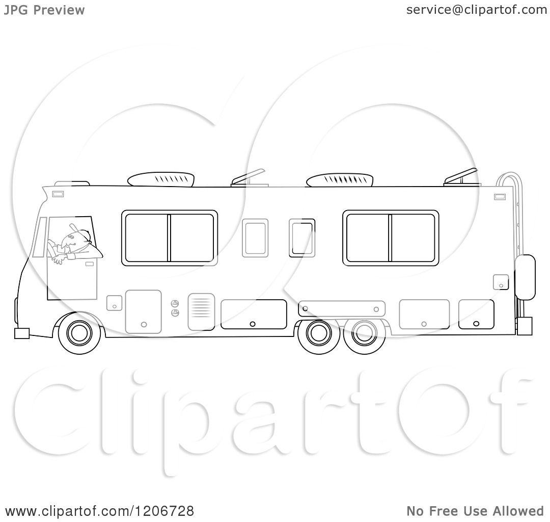 Cartoon Of An Outlined Man Driving A Class Motorhome