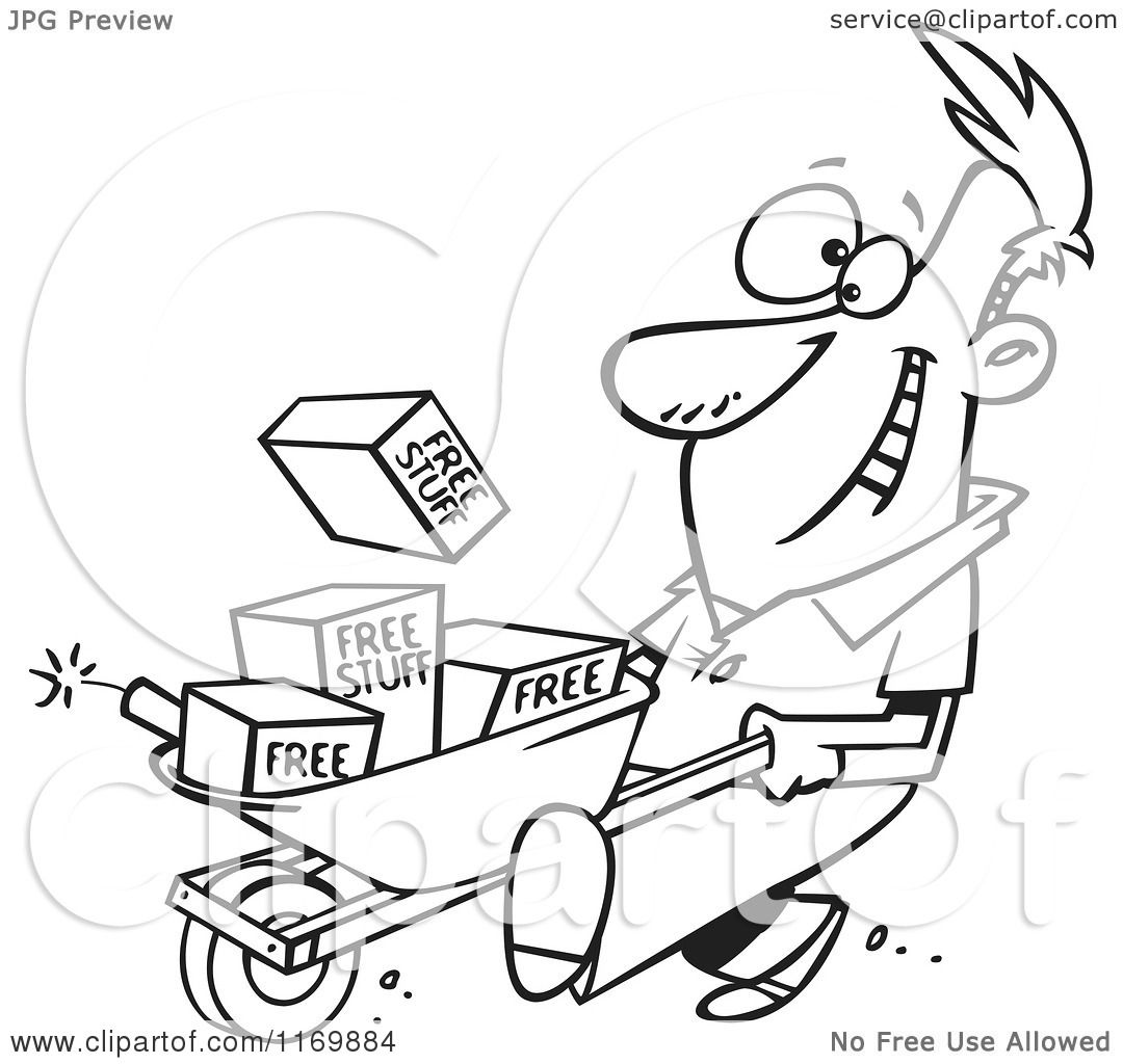 Cartoon of an Outlined Man Pushing Dynamite and Free Stuff in a ...