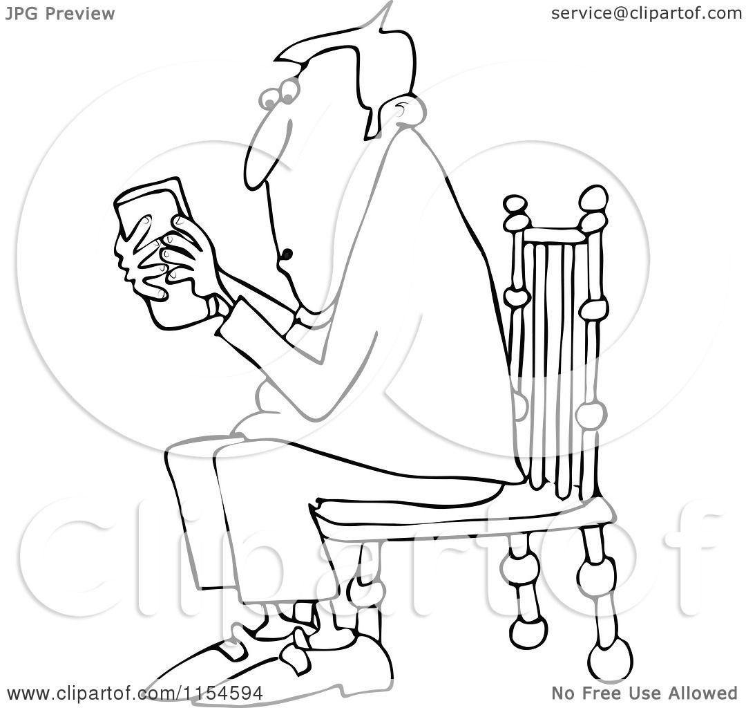 Man sitting in chair drawing - Cartoon Of An Outlined Man Sitting In A Chair And Texting On A Phone Royalty Free Vector Clipart By Djart