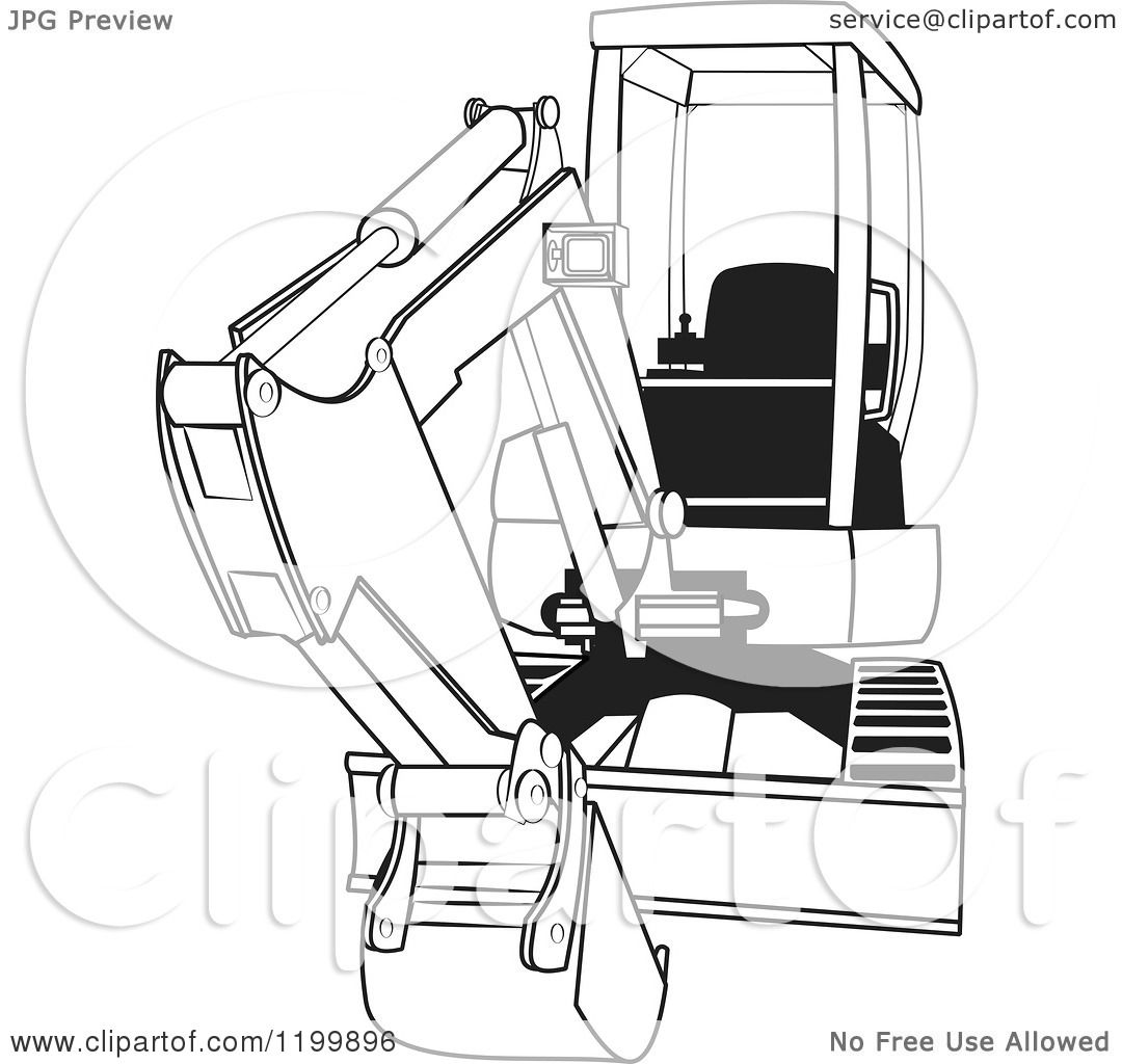 cartoon of an outlined mini excavator royalty free