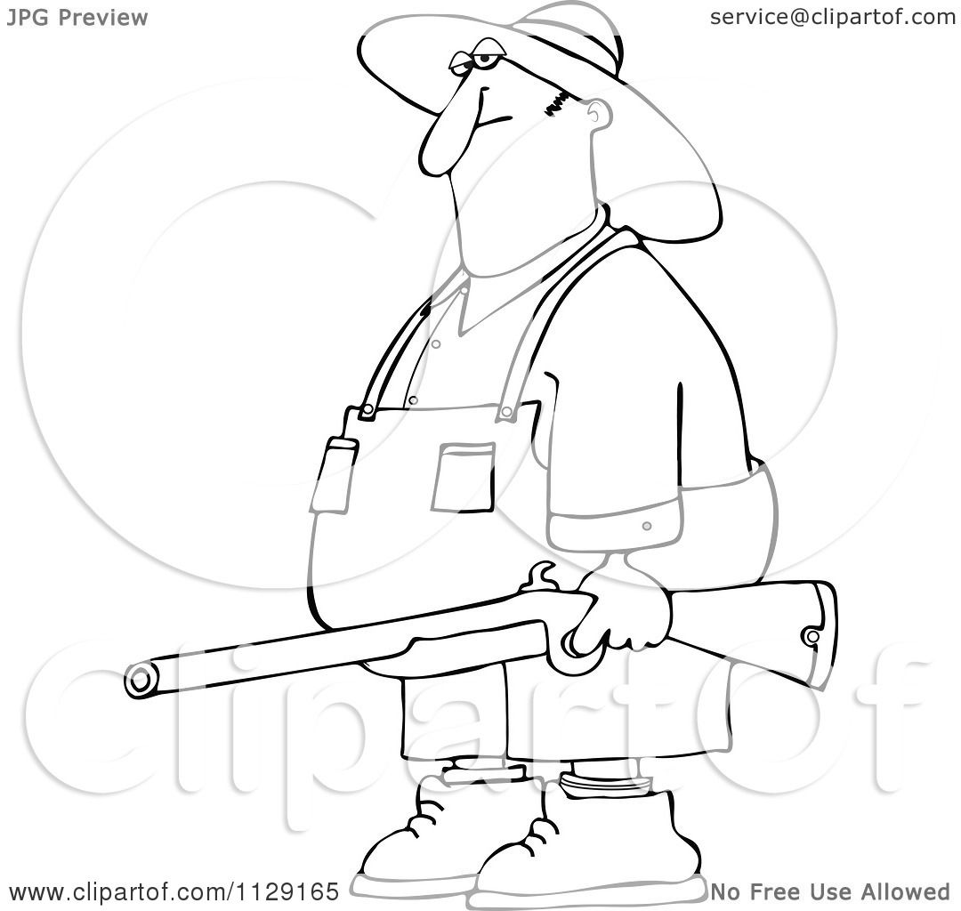 cartoon of an outlined redneck hillbilly man carrying a rifle