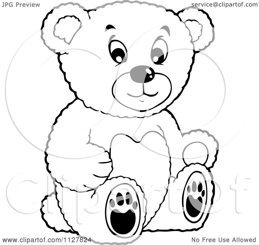 Cartoon Of An Outlined Toy Teddy