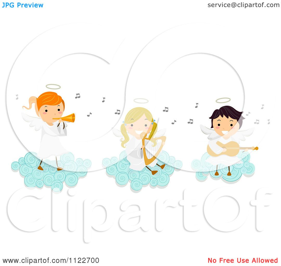cartoon of angel kids playing instruments on a cloud royalty free rh clipartof com