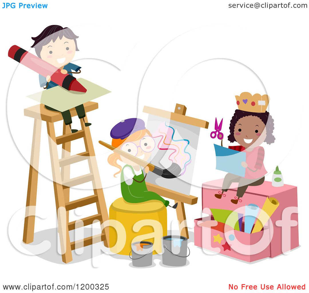 Cartoon of arts and crafts children by a ladder royalty for Kid arts and crafts