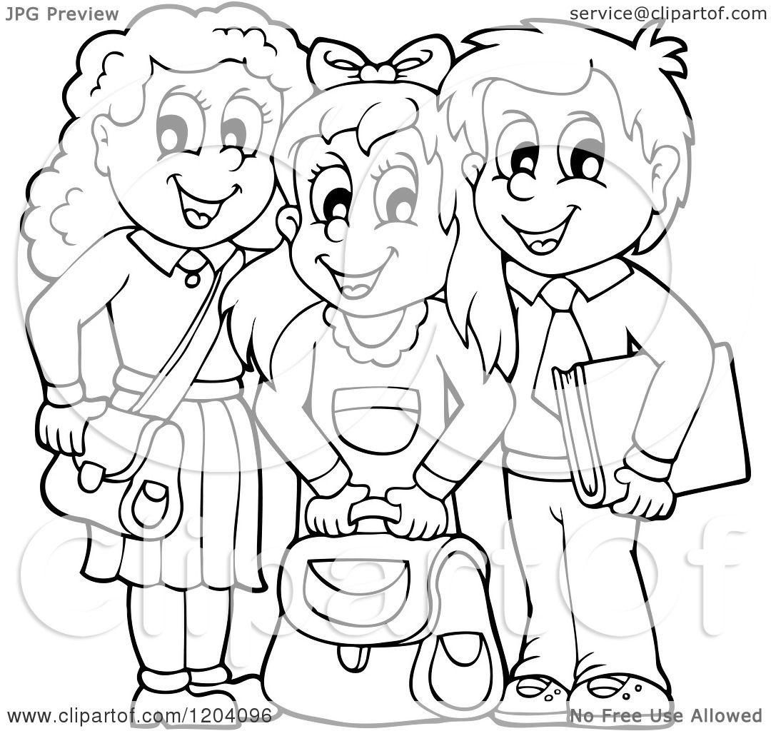Cartoon Of Black And White Happy School Children With