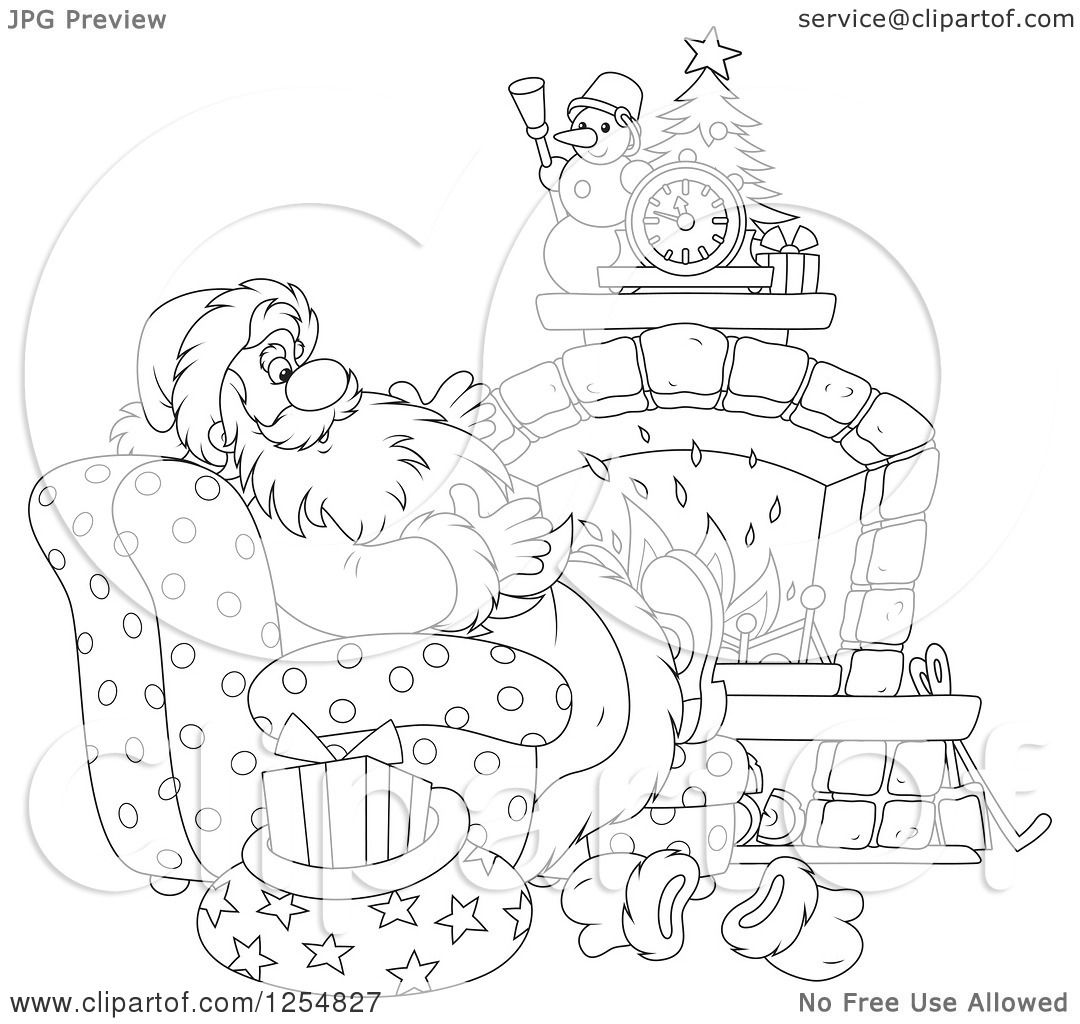 Cartoon of Black and White Santa Relaxing in Front of a ...