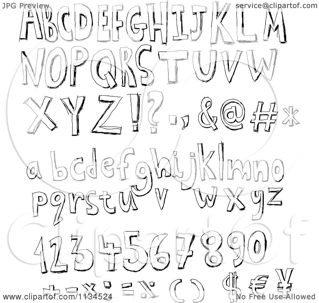 alphabet letters and symbols black and white sketched alphabet letters numbers and symbols
