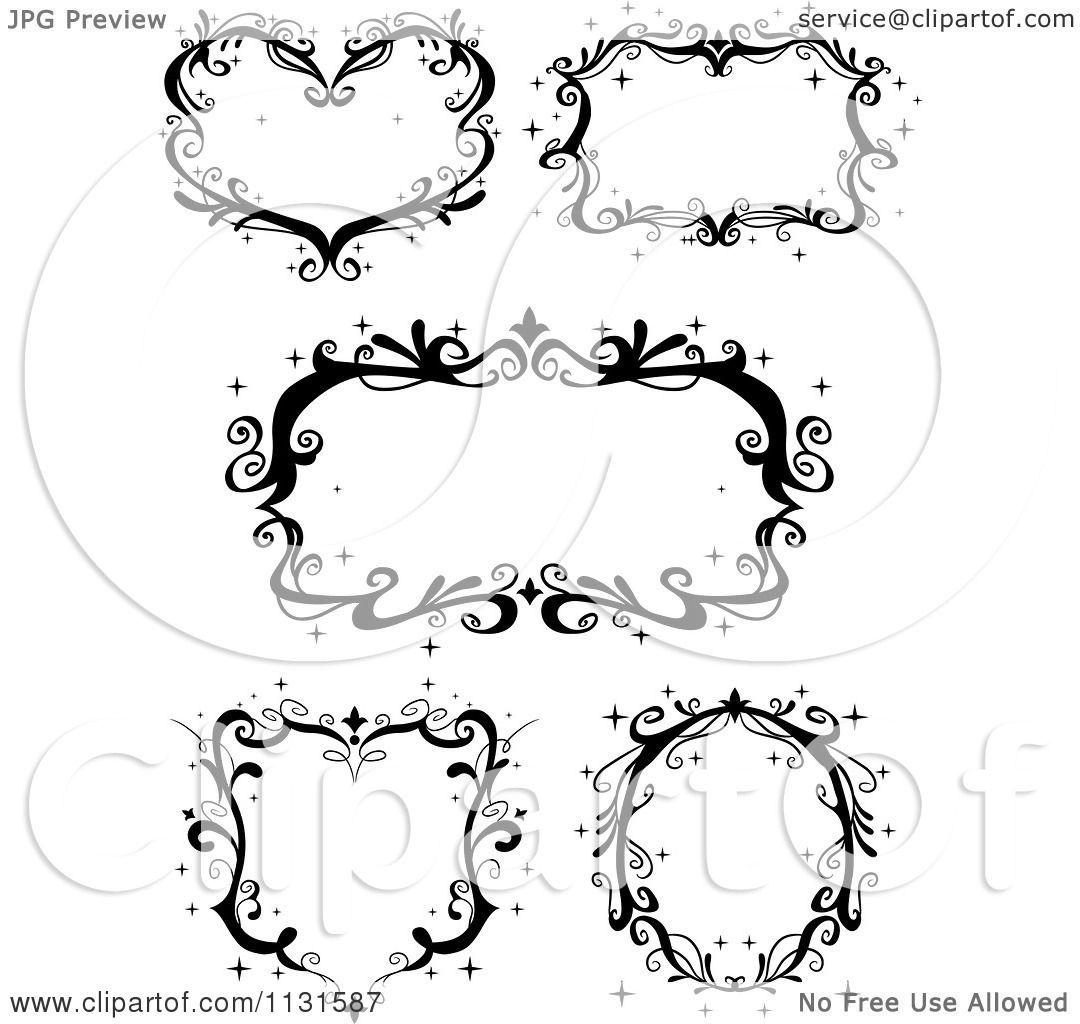 Cartoon Of Black Ornate Sparkly Frames Royalty Free