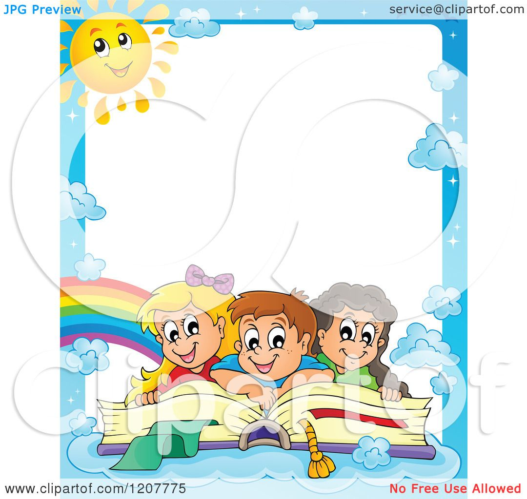 Cartoon Of Border Of Happy School Children On A Giant Book And Blue Sky With A Sun Royalty
