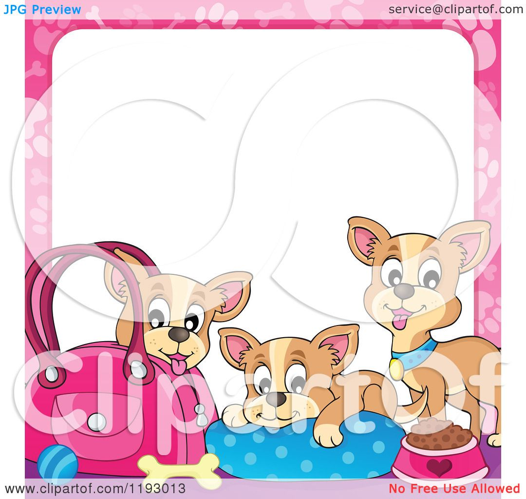 Cartoon of Chihuahua Dogs with Supplies and a Pink Paw Print Frame ...