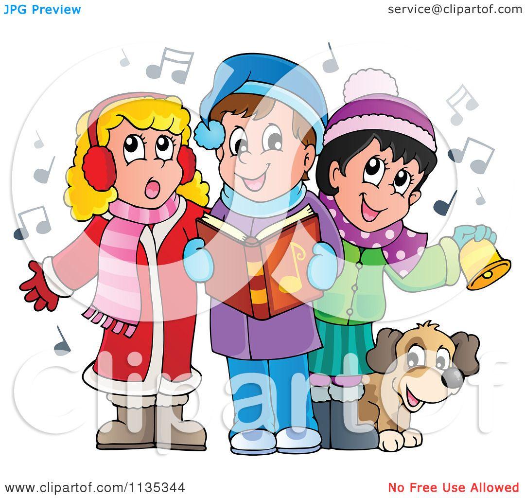 Cartoon Of Children Singing Christmas Carols - Royalty ...