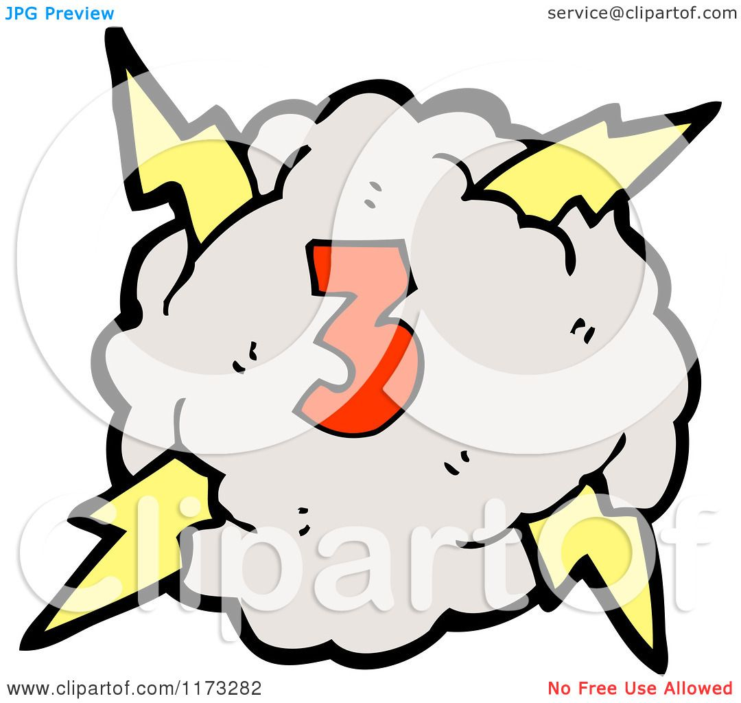 Cartoon Of Cloud With Lightning Bolts And Number Three