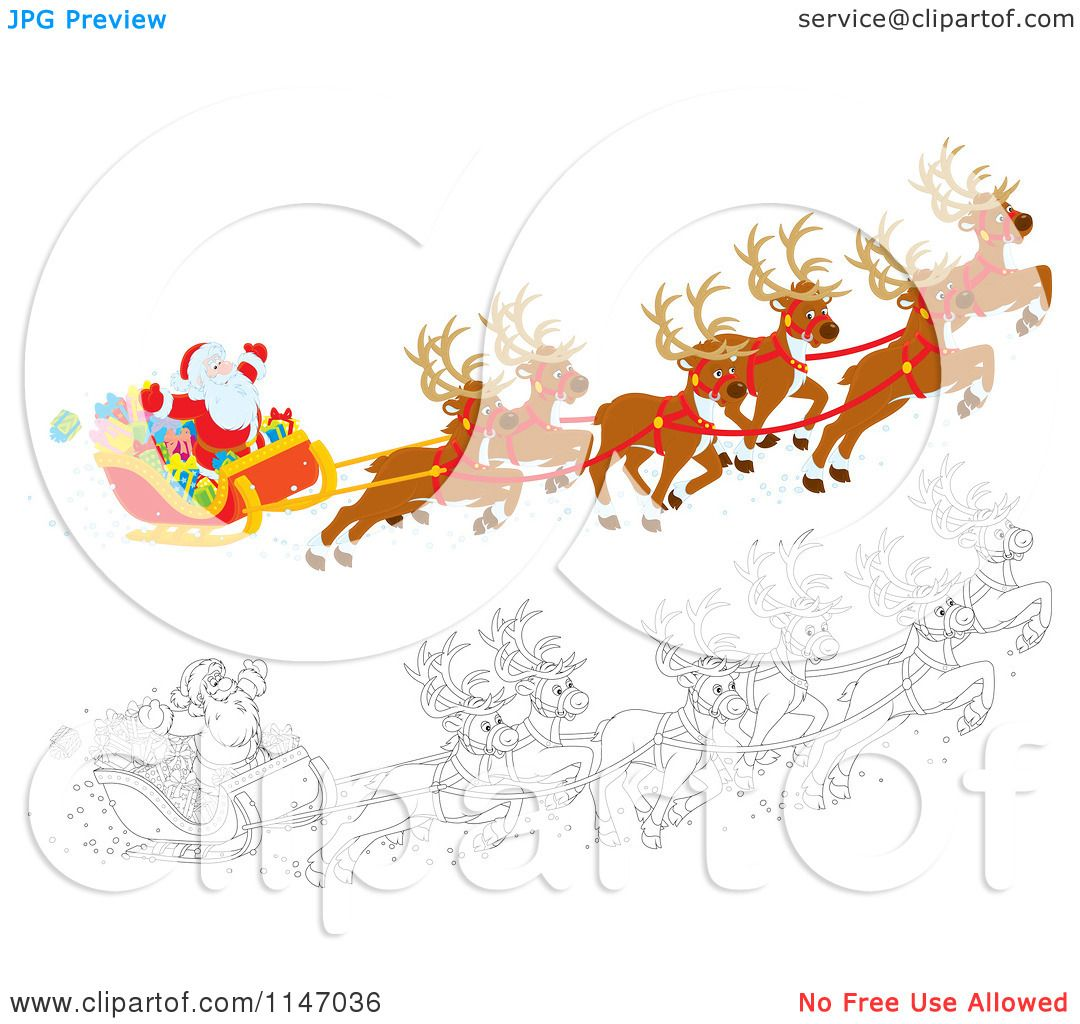 Cartoon Of Colored And Outlined Scenes Of Santa With Magic
