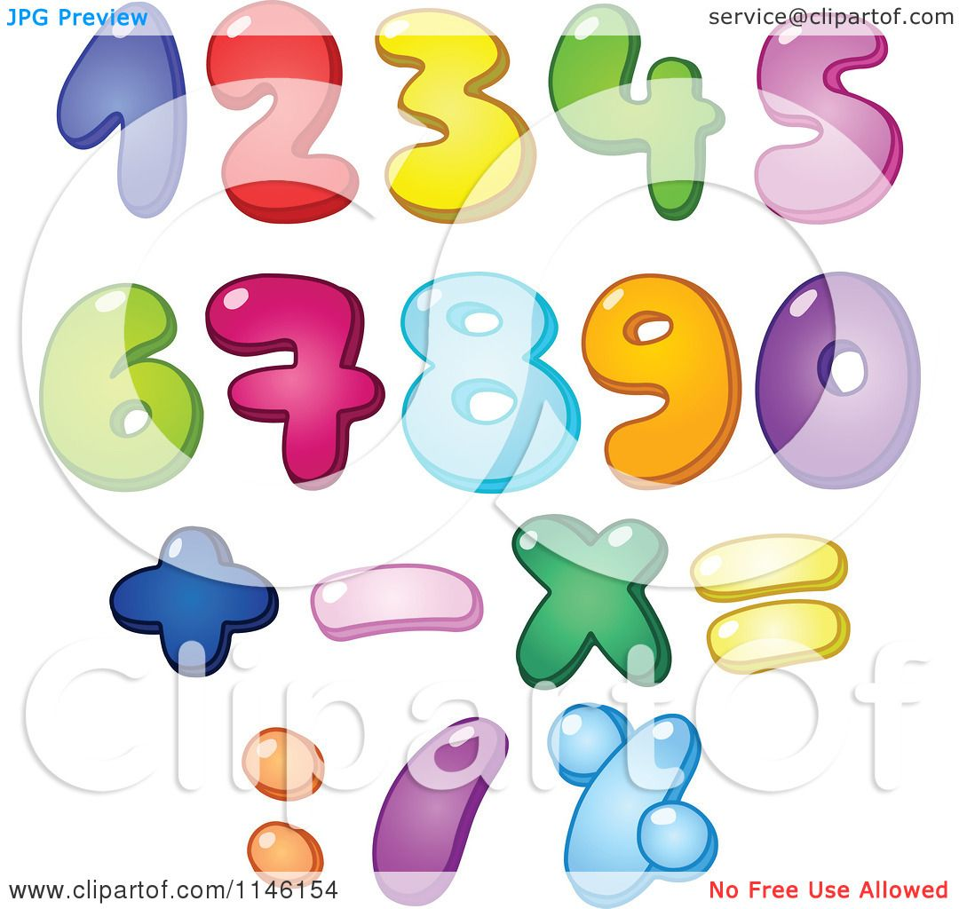 Cartoon of Colorful Bubble Numbers and Math Symbols - Royalty Free ...
