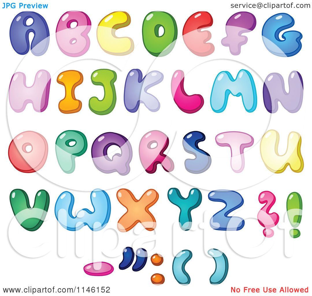 Cartoon Of Colorful Capital Bubble Letters And Punctuation