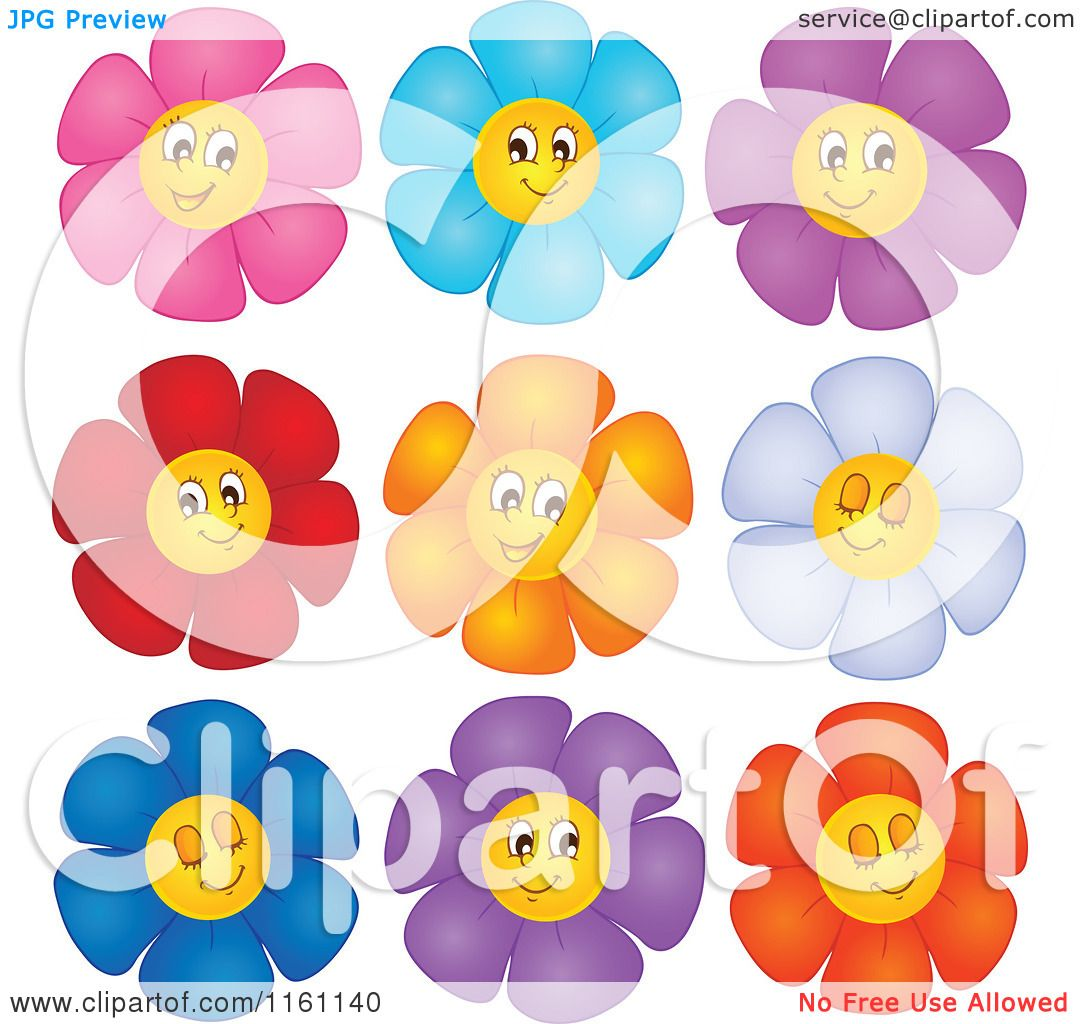 Cartoon Of Colorful Daisy Flower Faces