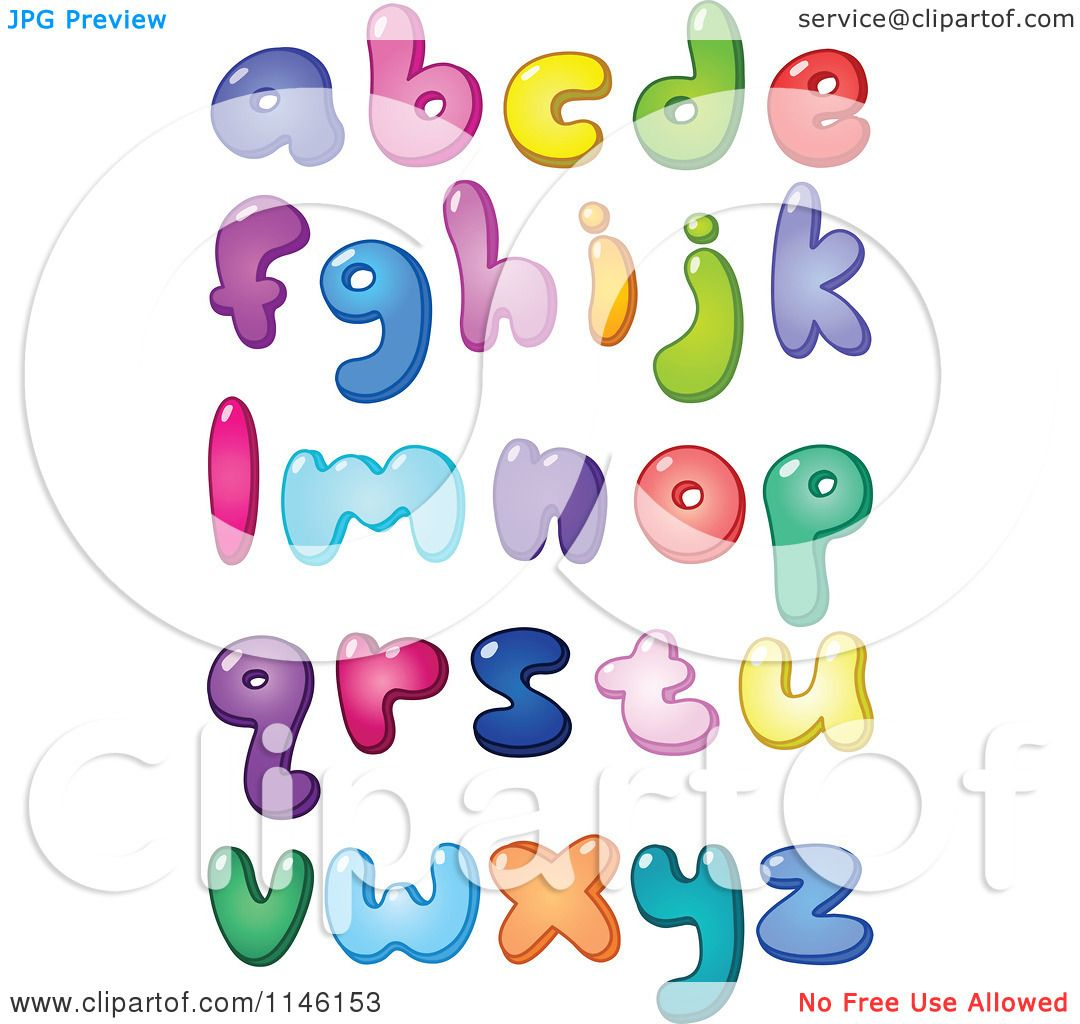 Cartoon Of Colorful Lowercase Bubble Letters And Punctuation