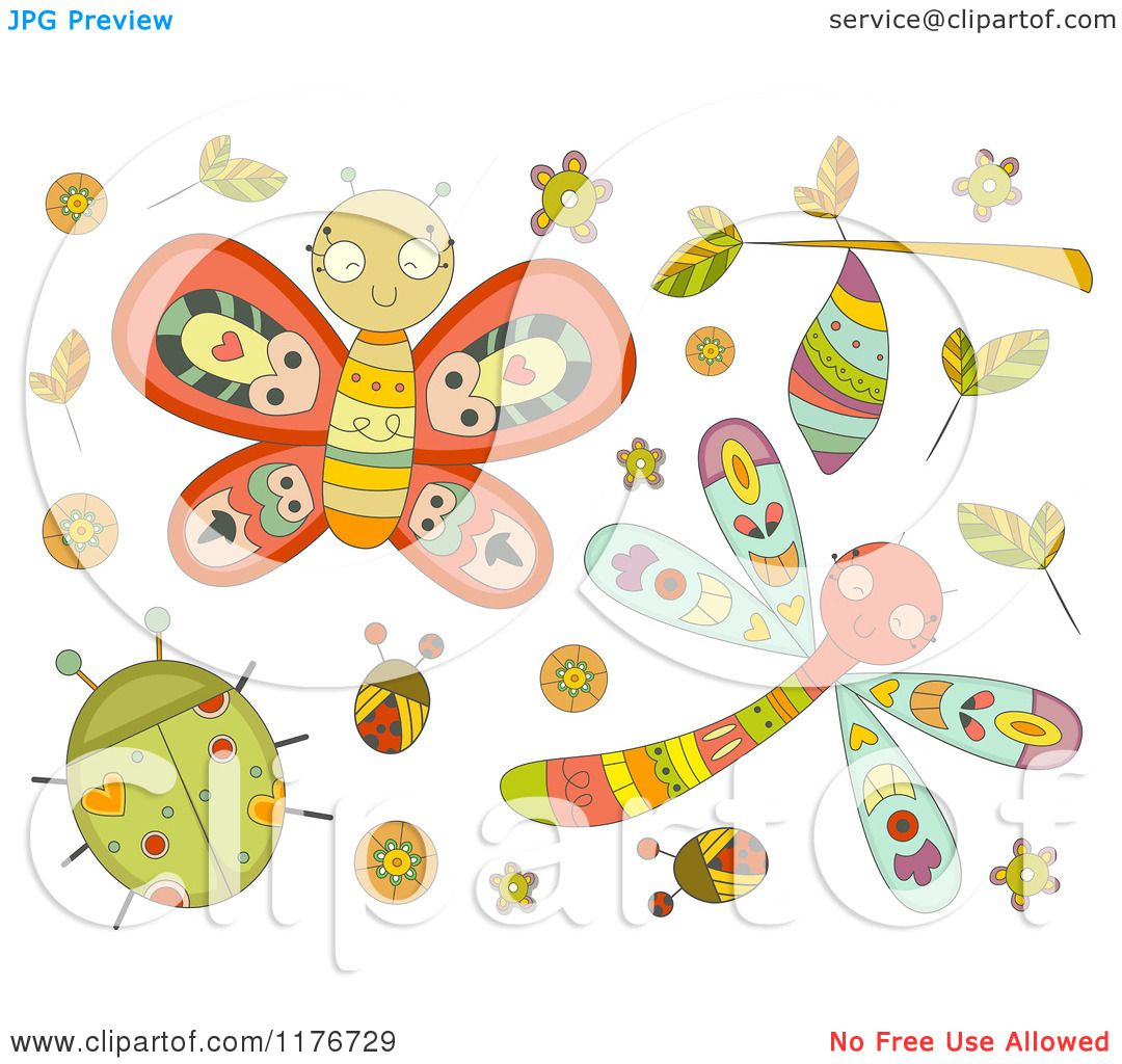cartoon of cute doodle bugs and leaves royalty free vector