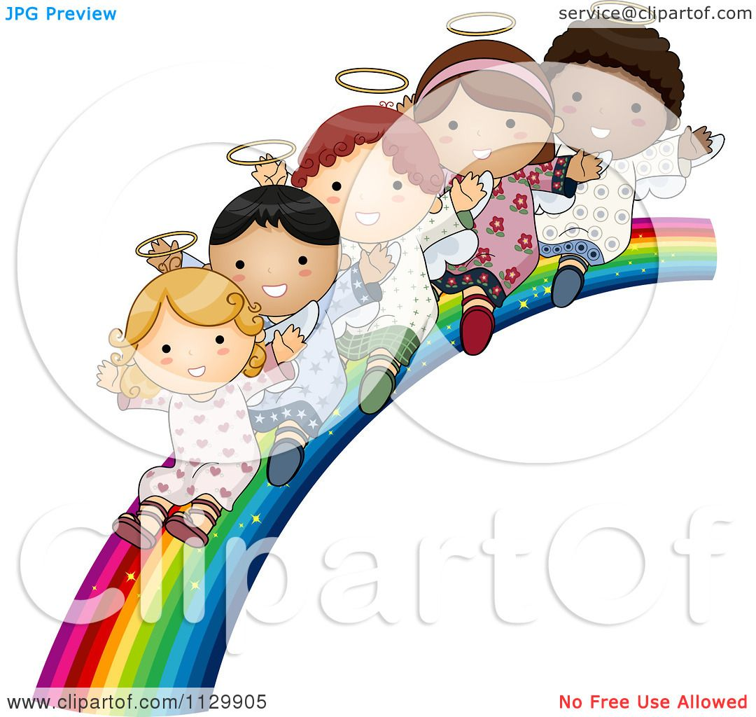 Free rf poodle clipart illustration 215241 by bnp design studio - Cartoon Of Cute Multi Ethnic Angel Children Sliding Down A Rainbow Royalty Free Vector Clipart