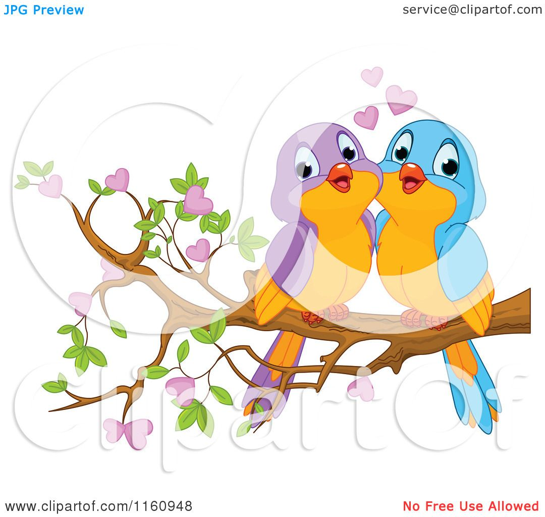 Cute cartoon love birds - photo#1