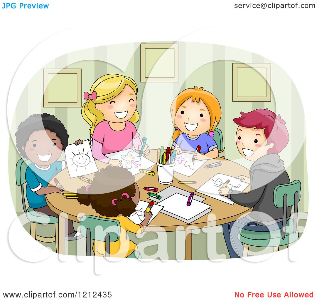 Clipart Children Drawing Children Drawing Together