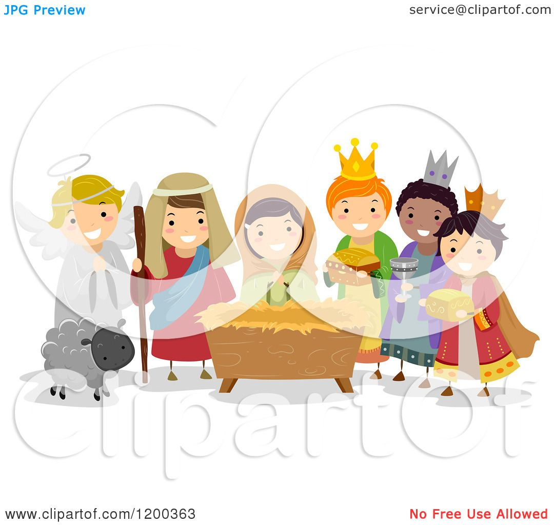 Cartoon Of Diverse Children Acting Out The Nativity Scene