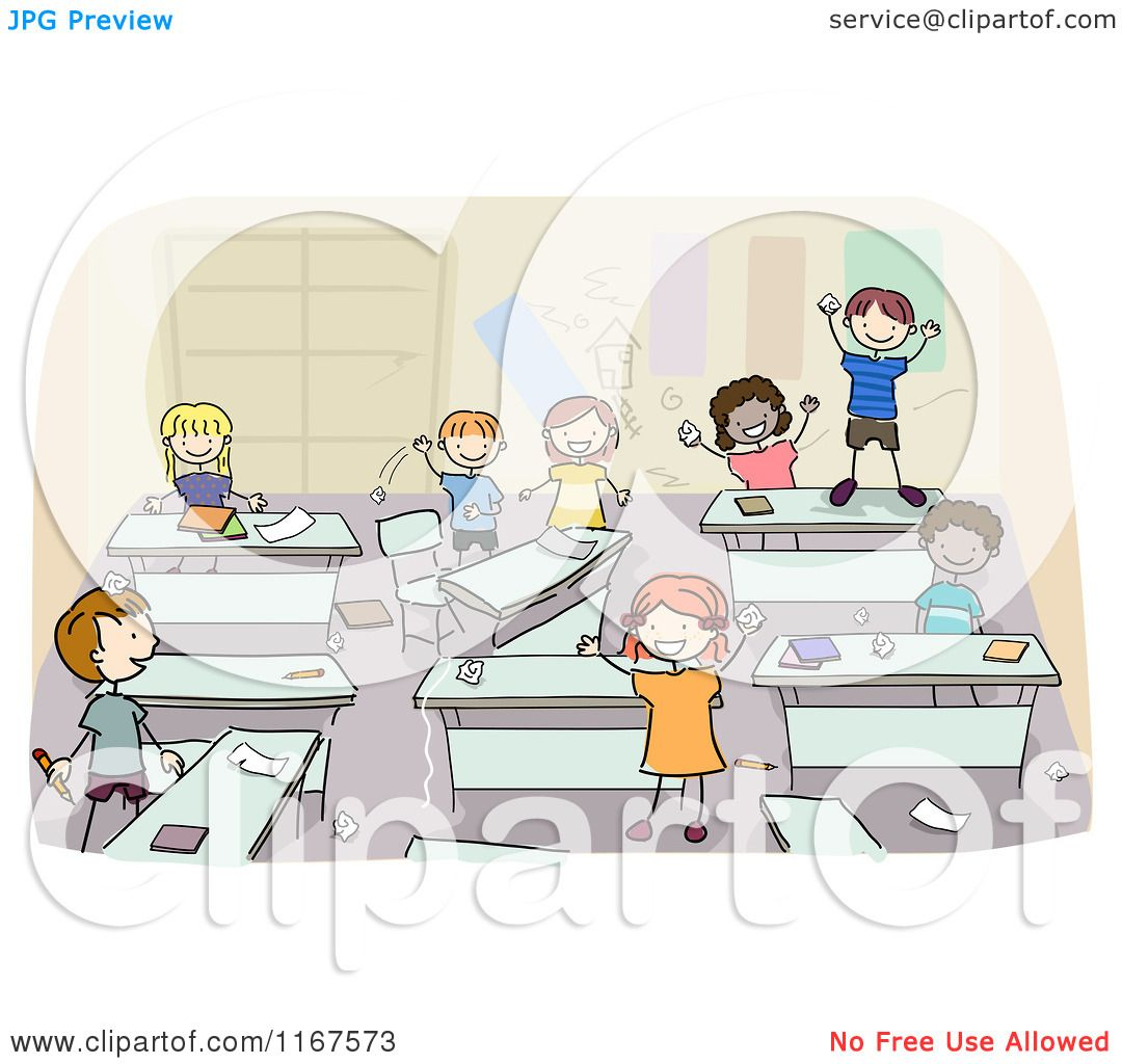 Classroom Layout Clipart ~ Cartoon of diverse school children in a messy classroom
