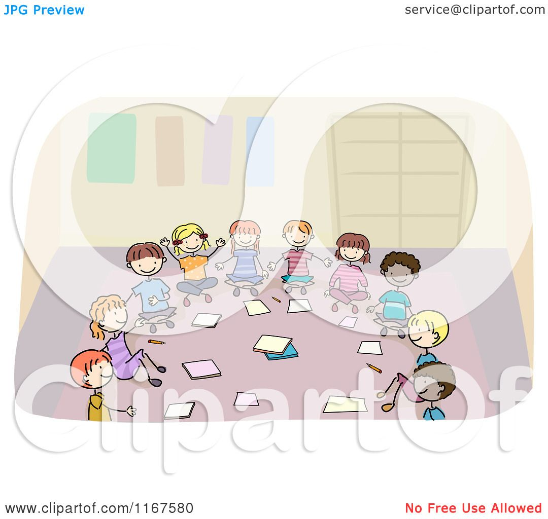 Cartoon Of Diverse School Children Sitting In A Circle And
