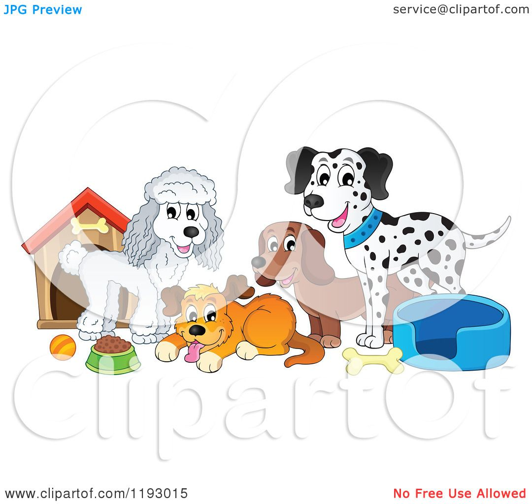 Free rf poodle clipart illustration 215241 by bnp design studio - Cartoon Of Dogs And Supplies By A House Royalty Free Vector Clipart