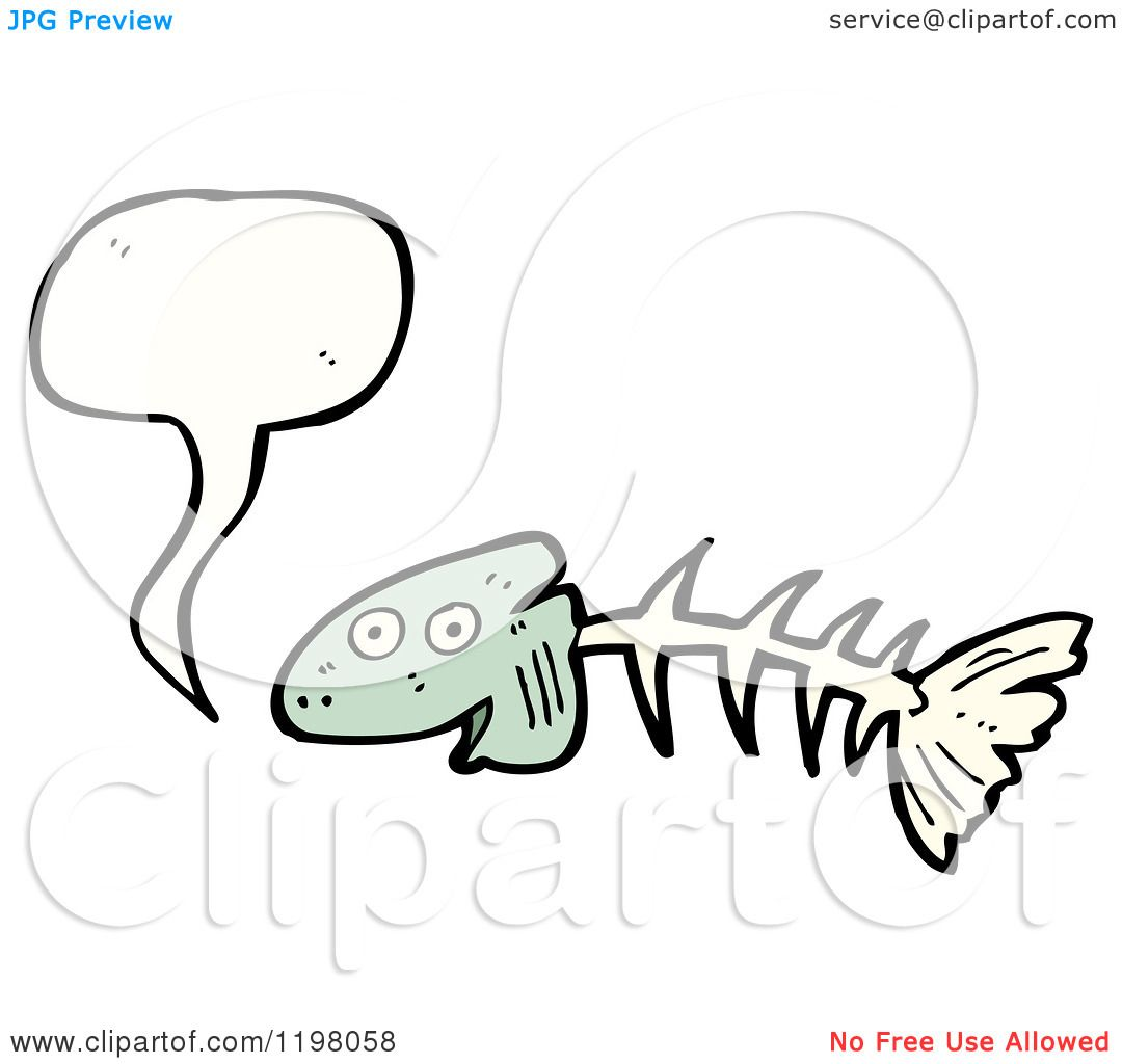 Cartoon of fish bones speaking royalty free vector for Fish without bones