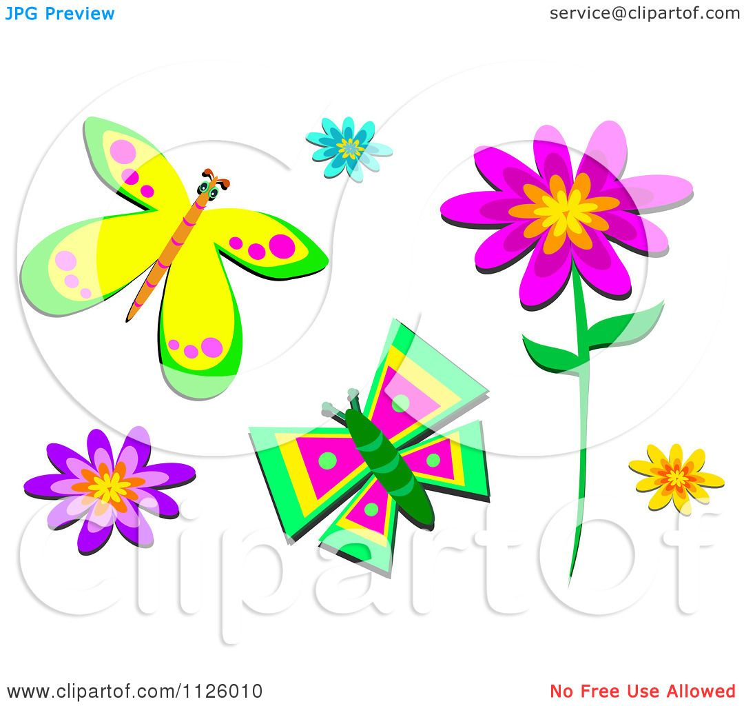 cartoon of flowers and butterflies royalty free vector clipart