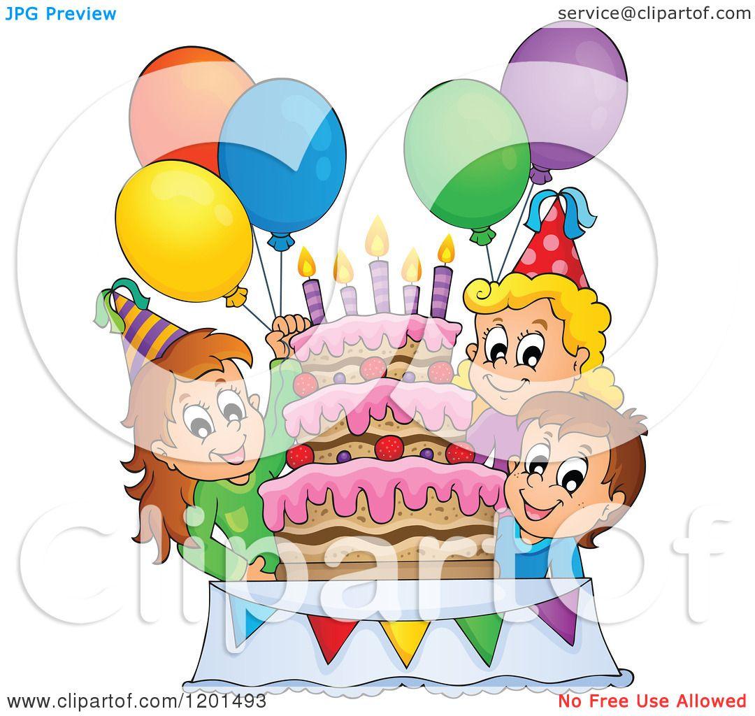 Cartoon of Happy Children Around a Cake at a Birthday ...