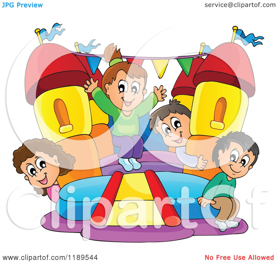 Cartoon Of Happy Children Playing On A Bouncy House Castle