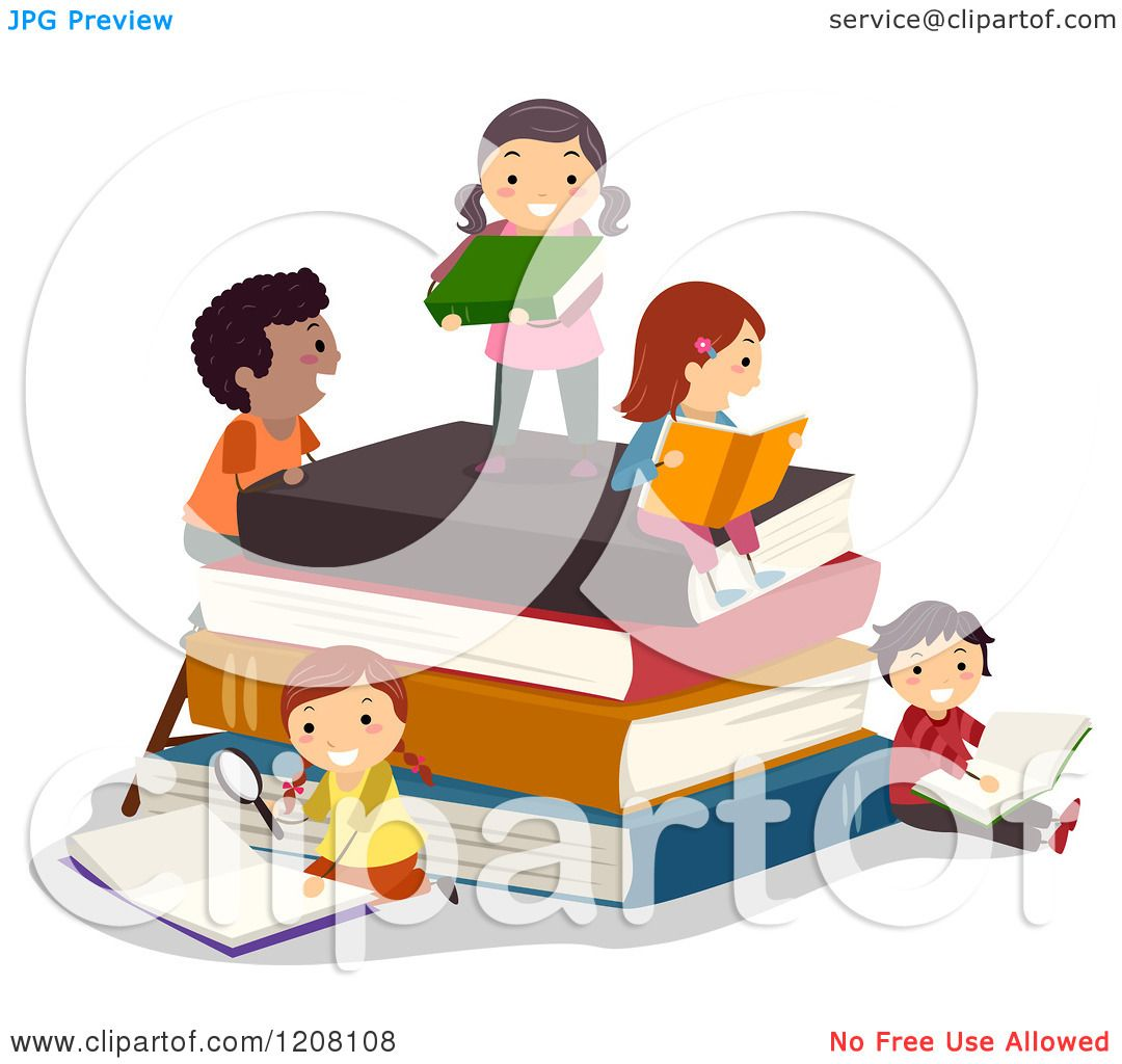 Cartoon of Happy Diverse Children Reading on a Stack of ...