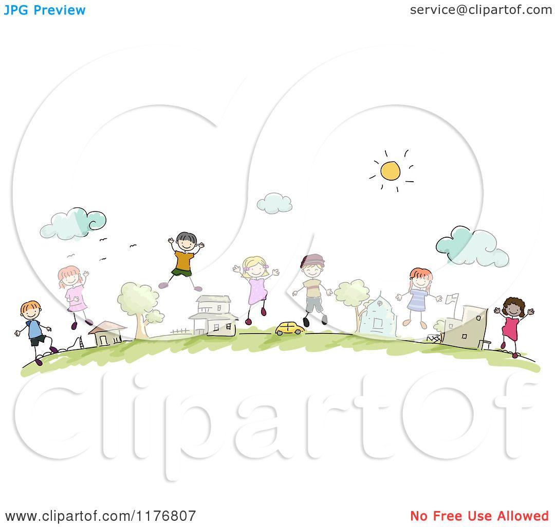 Cartoon of Happy Diverse Community Stick Children Jumping ...