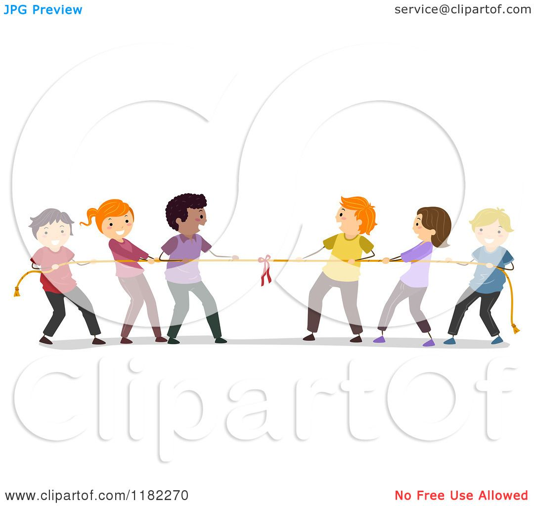 Cartoon Of Happy Diverse People Playing Tug Of War