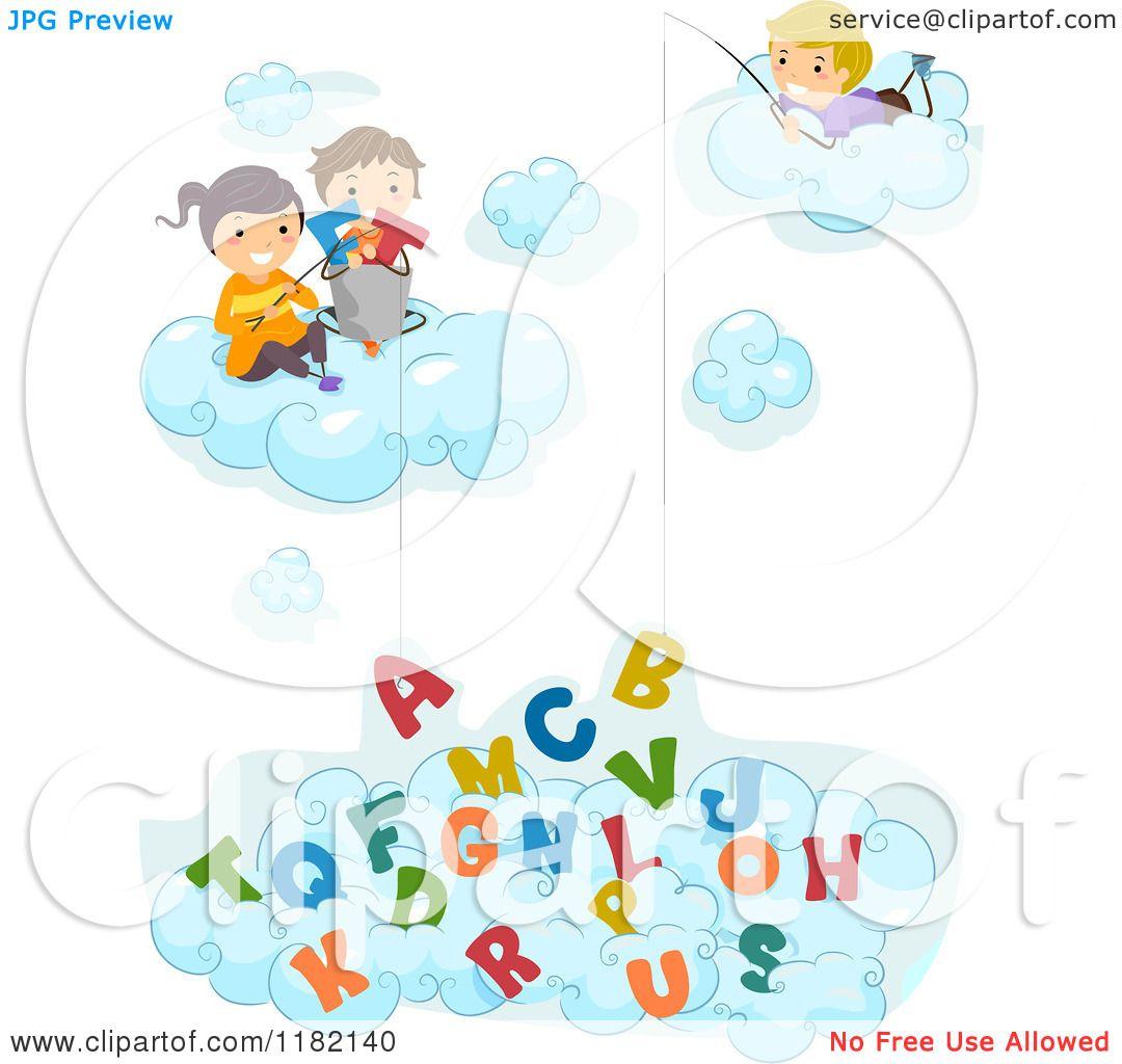Cartoon of Happy Diverse School Children in Clouds ...