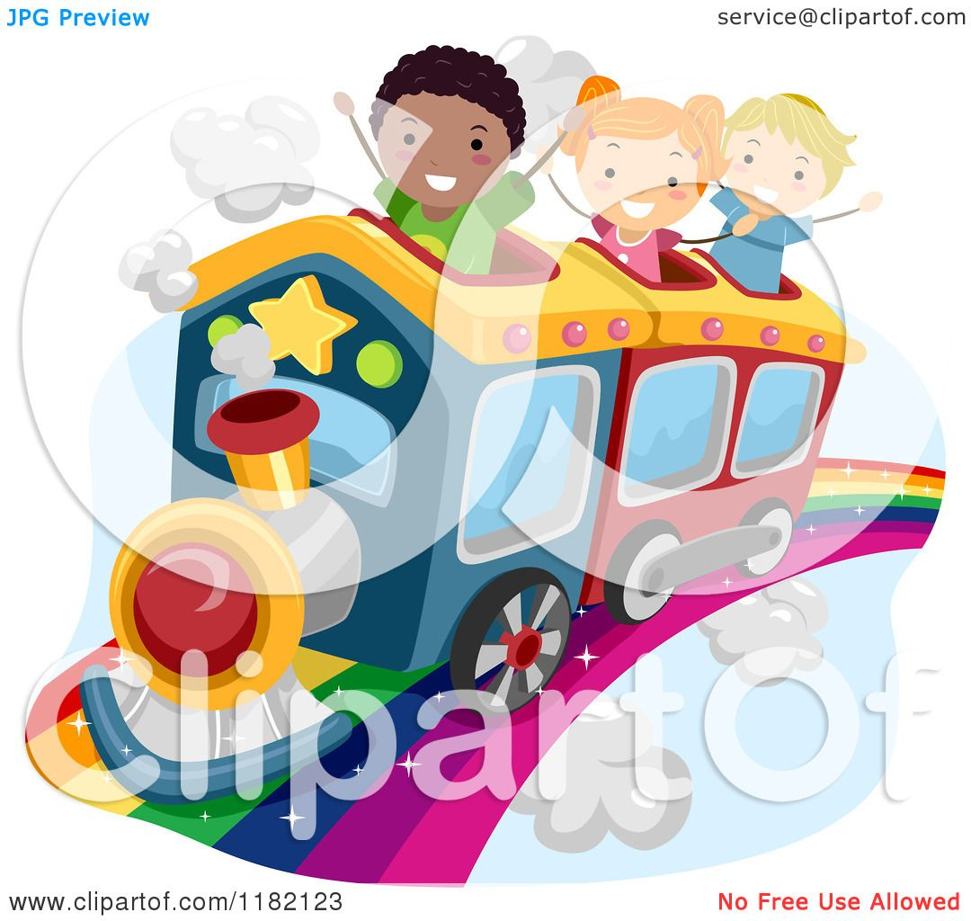 Cartoon Of Happy Diverse School Children Riding A Train On